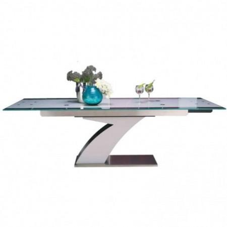 table repas florida piedinox brossé verre trempé blanc