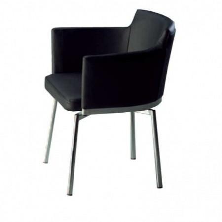 fauteuil pivotant banks inox pu noir