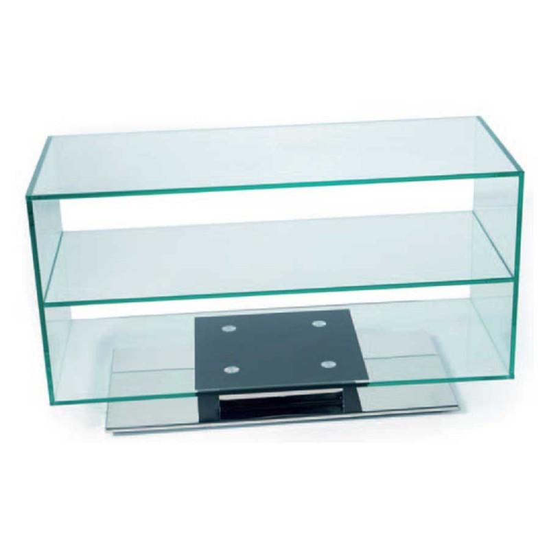 meuble tv verre socle inox pivotant