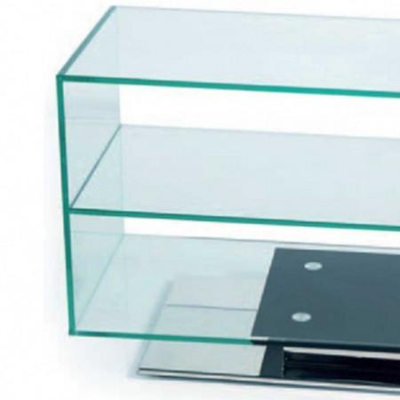 meuble tv verre socle inox pivotant 1