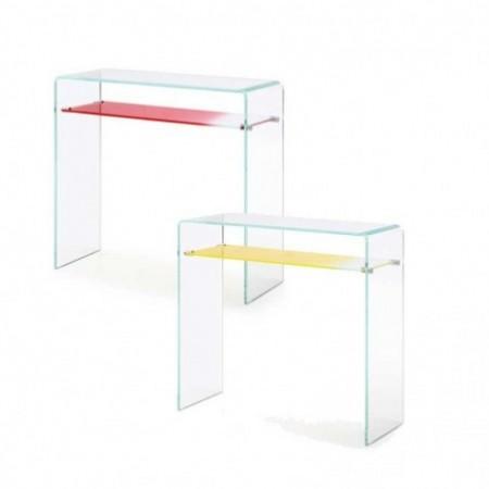 console verre 1 étagère gradient rouge jaune