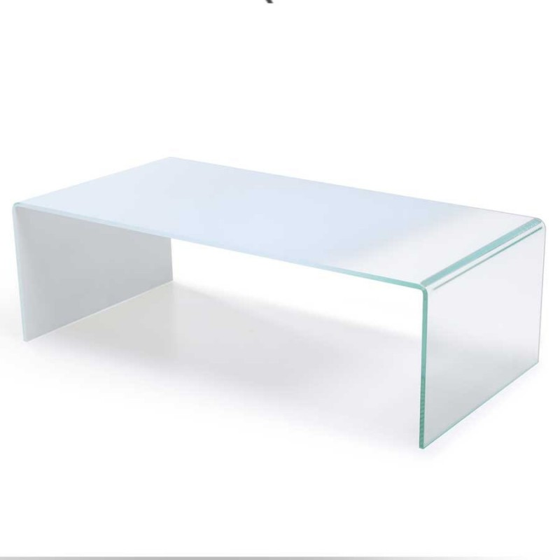 table basse gradient verre dégradé blanc