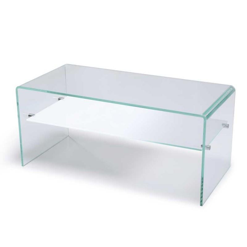 table basse gradient verre rangement