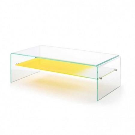 table basse gradient verre rangement jaune