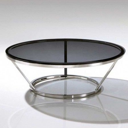 table basse ronde inox cerre fumé jewel