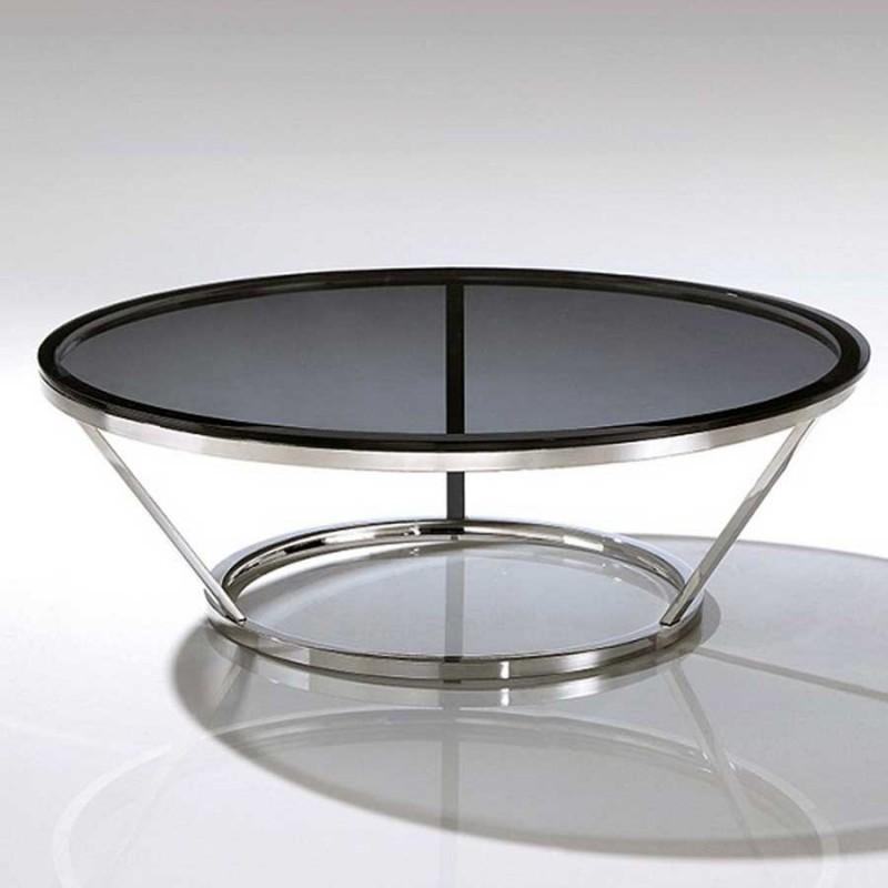 table basse ronde inox cerre fumé jewel