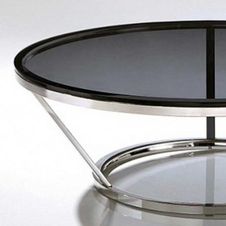 table basse ronde inox cerre fumé jewel 1