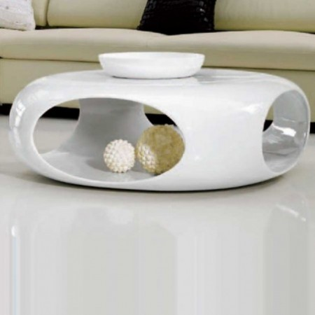 table basse kansas carre polyester blanc