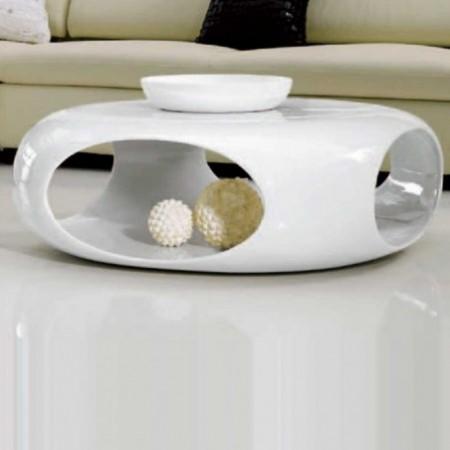 table basse kansas carre polyester blanc