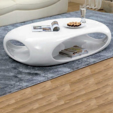table basse kansas rectangle polyester blanc