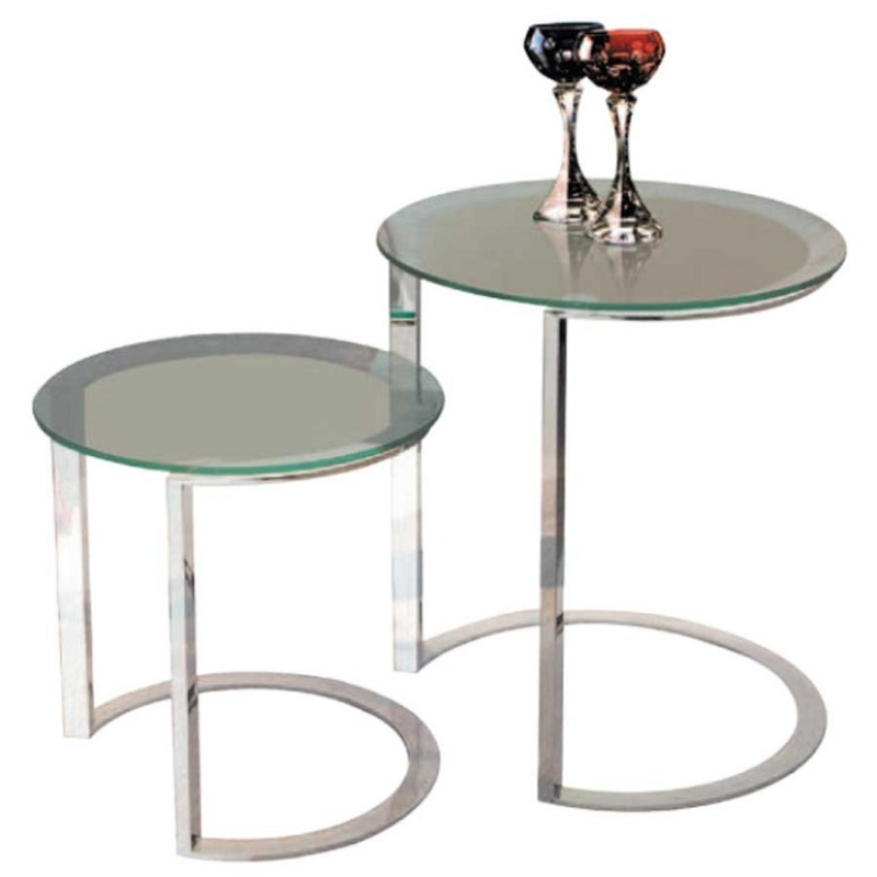 tables gigognes x2 kenny inox verre incolore