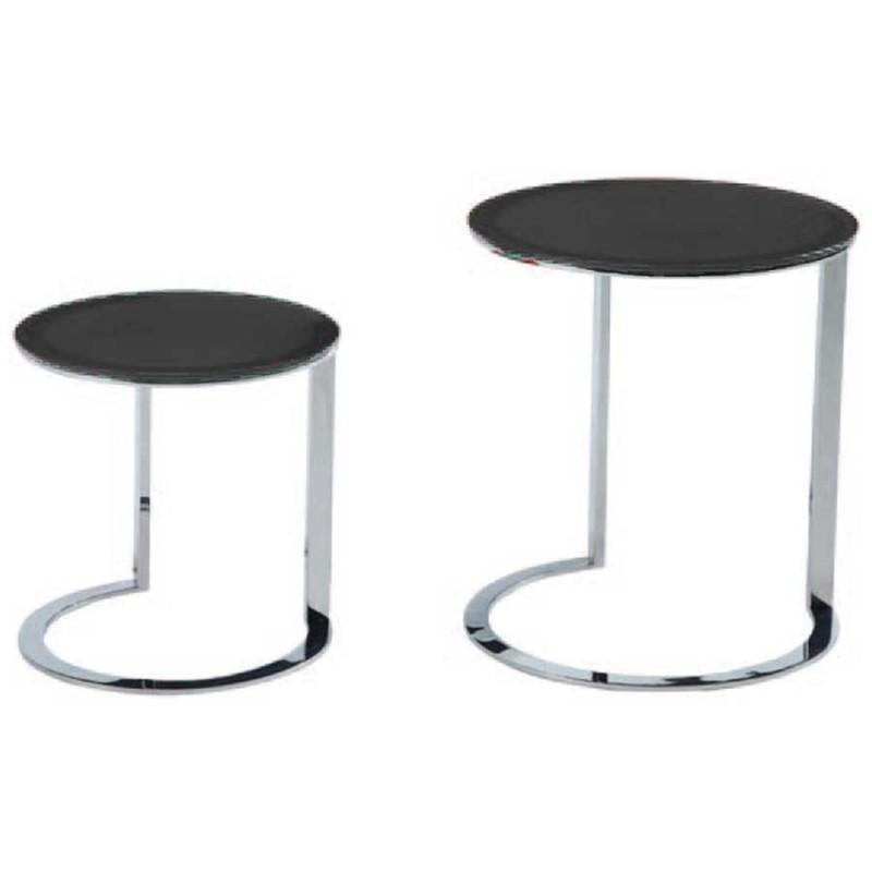 tables gigognes x2 kenny inox verre laqué noir