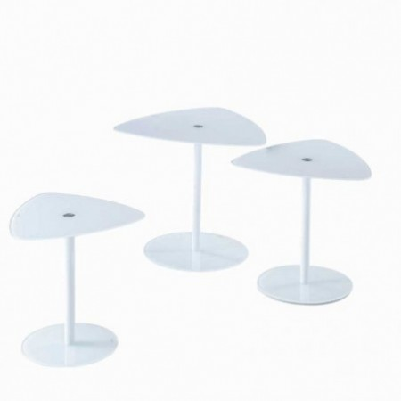 3 tables basses verre laqué blanc keywest