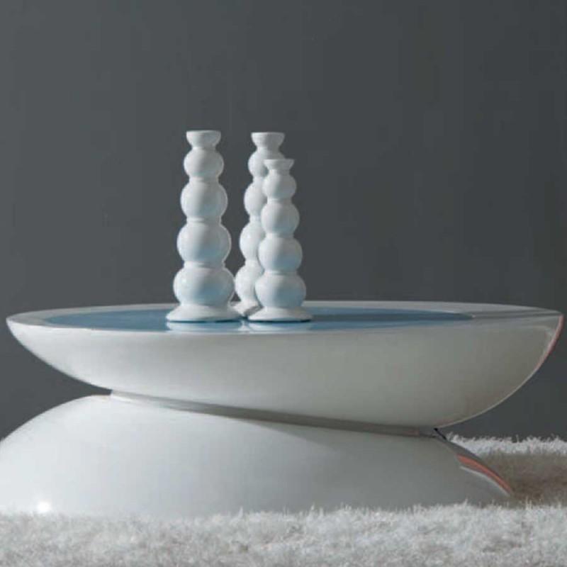 table basse koralia blanc laqué eclairage led