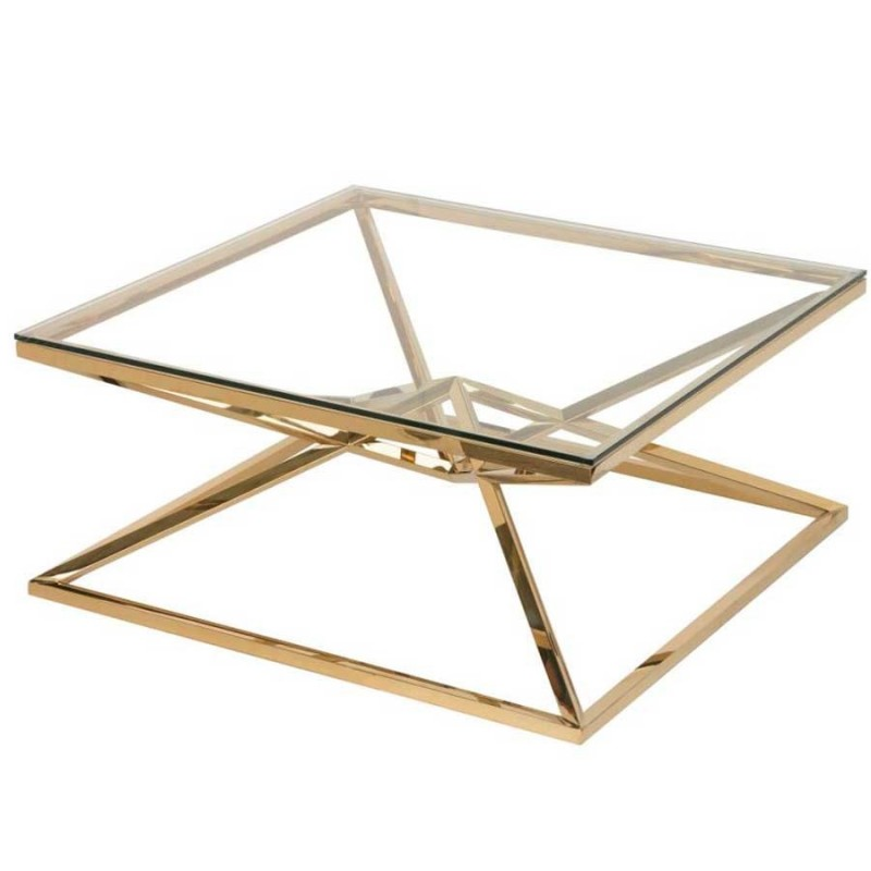 table basse inox dore verre transparent louxor