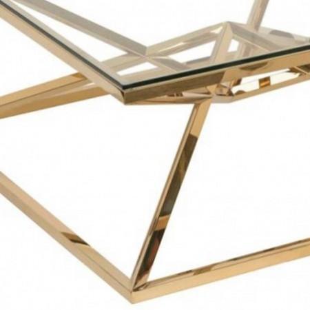table basse inox dore verre transparent louxor 1