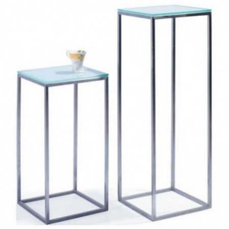 colonne inox verre blanc carre nappa