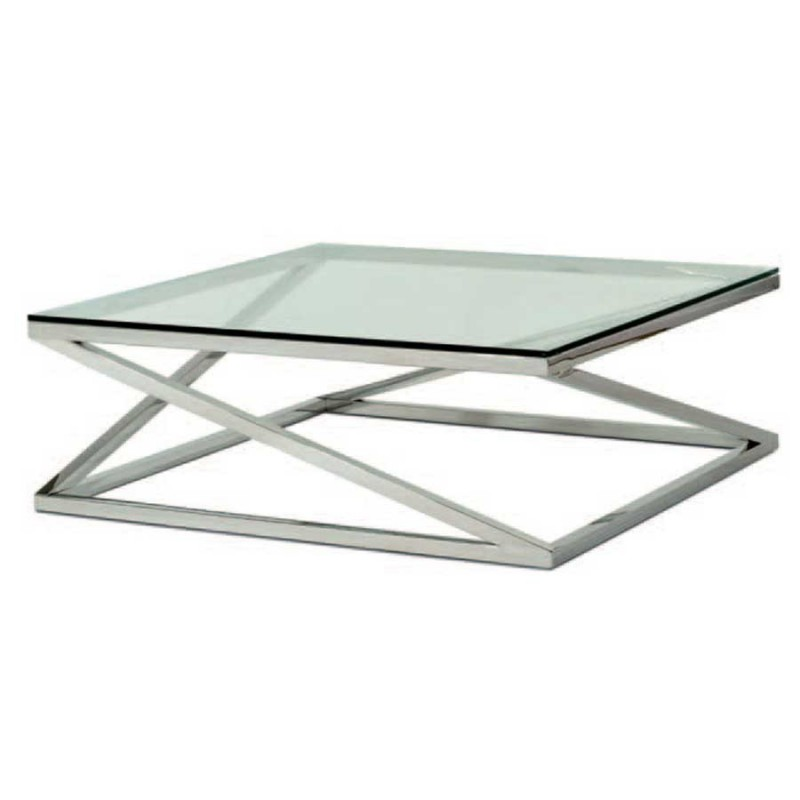 table basse carmel inox poli verre