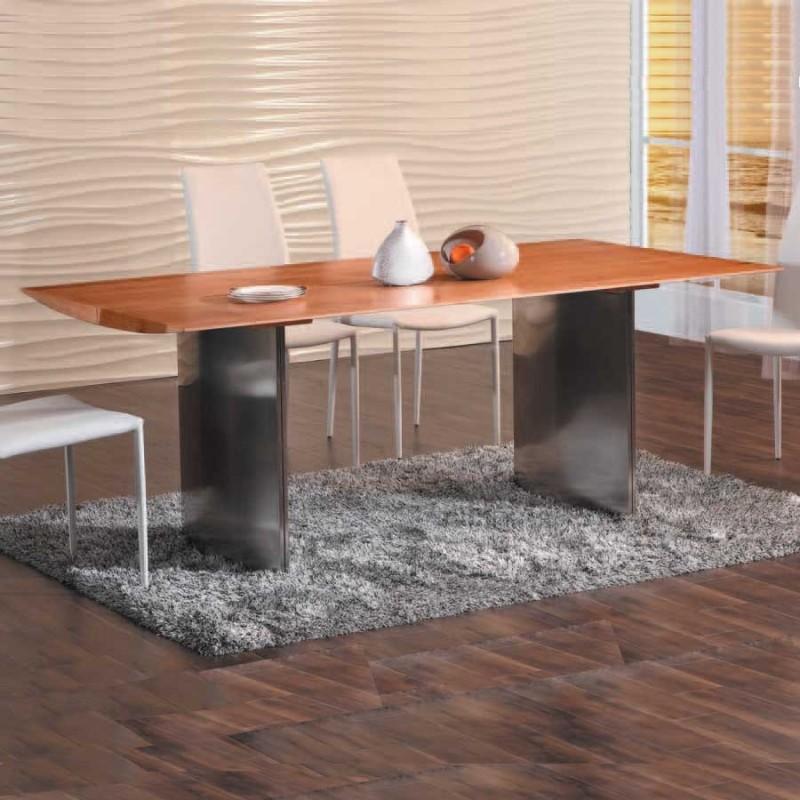 Achat de table repas design PARK en inox et chêne pas cher a32aa441e523