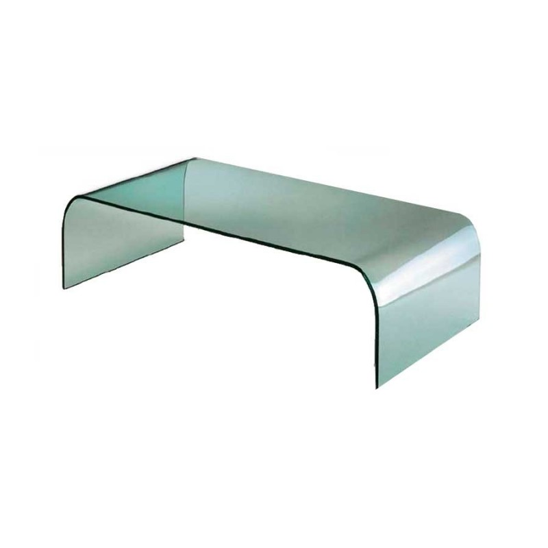 table basse verre courbé pont
