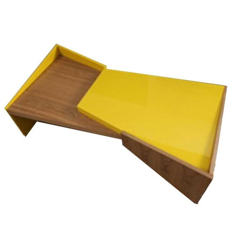 rainbow table basse bois jaune