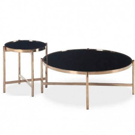 vente de table basse rosegold dor et verre noir prix discount. Black Bedroom Furniture Sets. Home Design Ideas