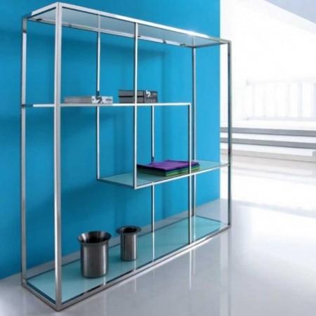 bibliothèque silver verre blanc inox 1