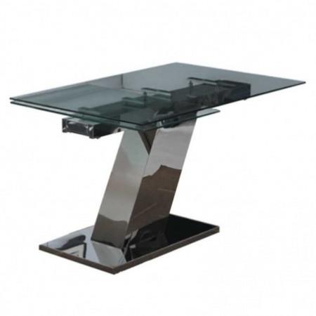 table repas sonia verre inox 1m60
