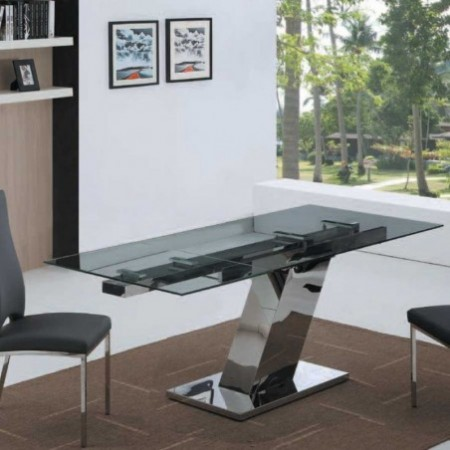 table repas sonia verre inox 1m60 1