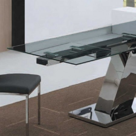 table repas sonia verre inox 1m60 2