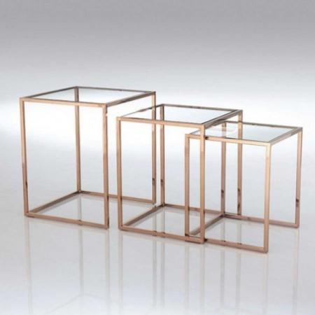 3 tables gigognes square cuivre verre