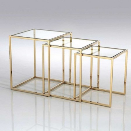 3 tables gigognes square or verre