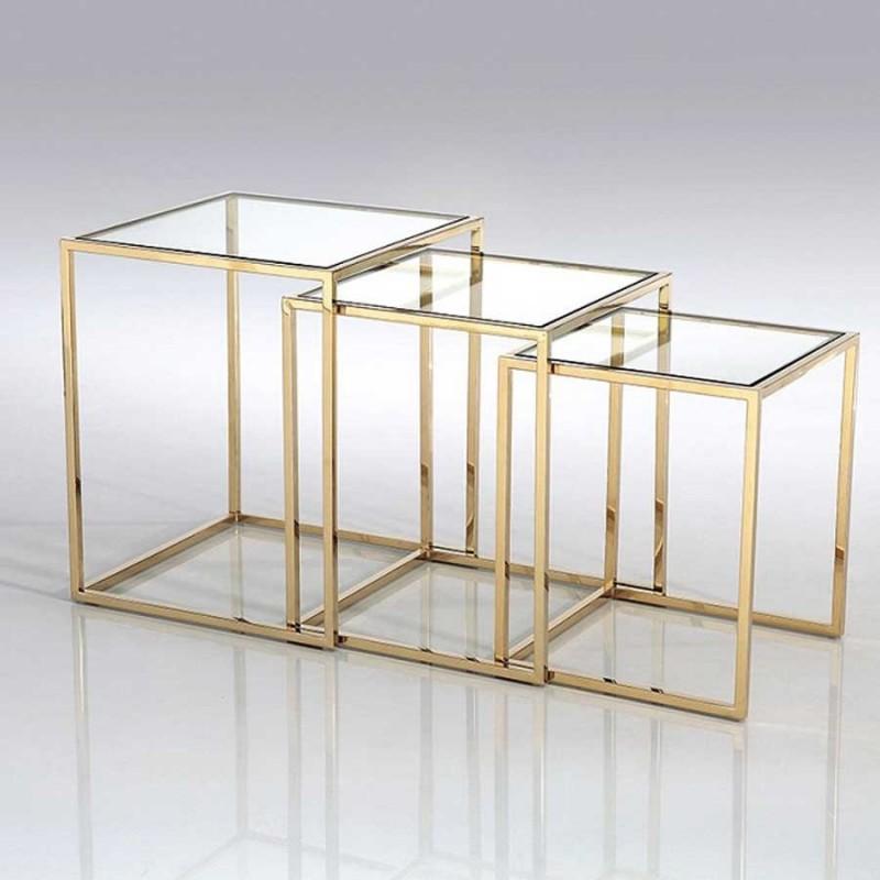 3 tables gigognes square or verre