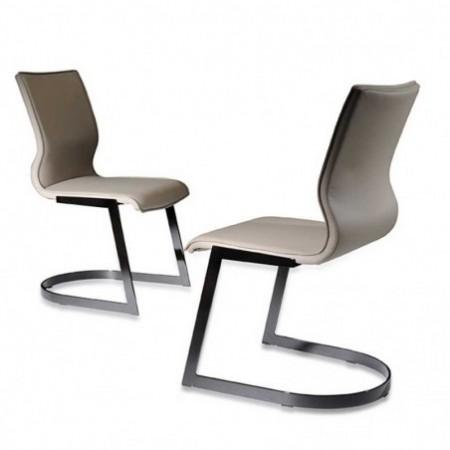 chaises métal titane assise pu blanc x2