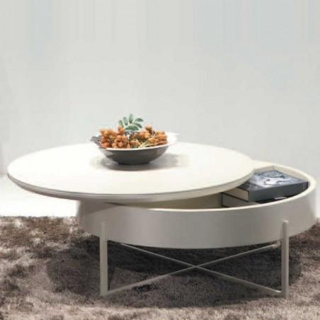 table basse ronde  céramique laqué beige mdf