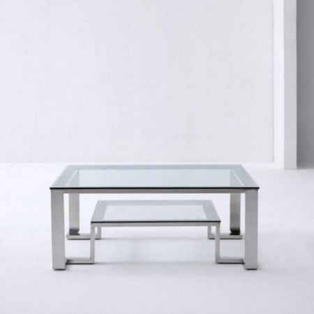 table basse design inox verre unik
