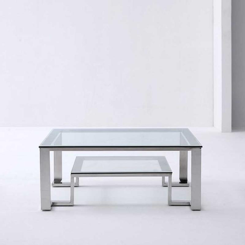 Vente de table basse design UNIK en inox et verre trempé pas cher