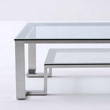 table basse design inox verre unik 1