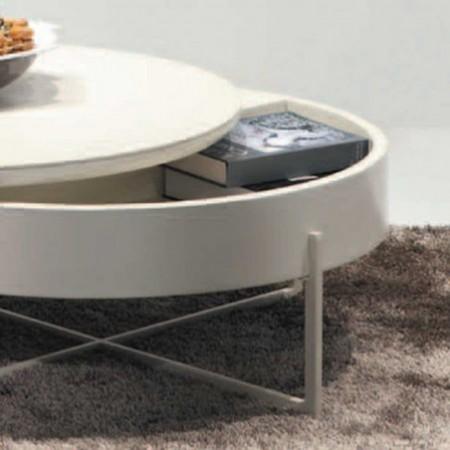 table basse ronde  céramique laqué beige mdf 1