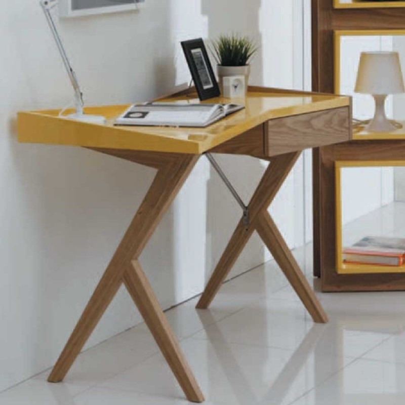bureau working mdf frene laqué jaune