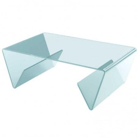 table basse verre courbé incolore aspen