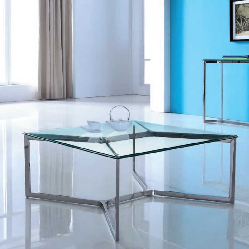 table basse verre inox denver
