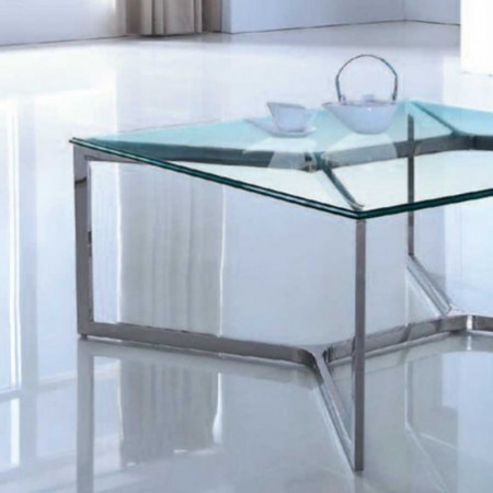 table basse verre inox denver 1
