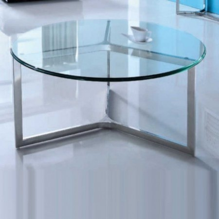 table basse denver ronde verre inox