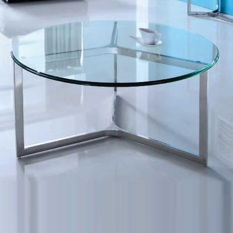 table basse denver ronde verre inox
