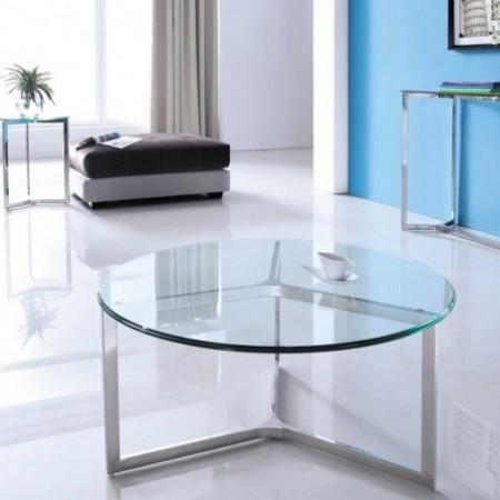 table basse denver ronde verre inox salon