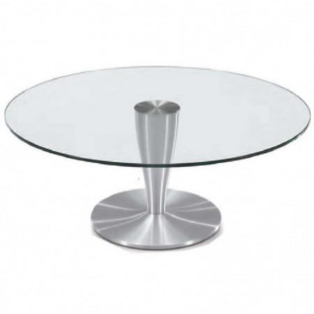 table basse ronde verre aluminium brossé detroit