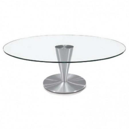 table basse ovale verre aluminium brossé detroit