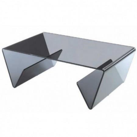 table basse verre courbé fumé aspen