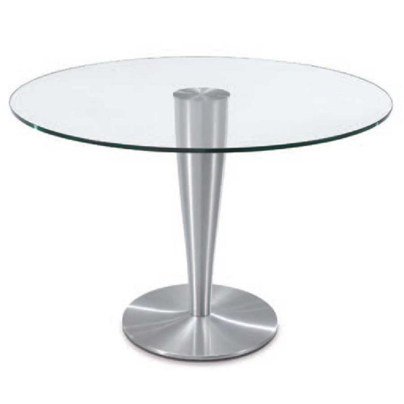 table repas ronde detroit verre aluminium brossé